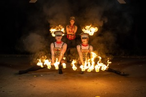 Pyrotechnic Fire Show UK. Hire fire performers. Book fire show. The Greatest Showman themed fire show.