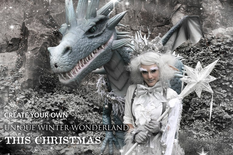 Hire dragon entertainment. Dragon performer for hire. Book a dragon. Hire a dragon. Book unique christmas entertainment. Christmas entertainment outside of the box. Winter Wonderland themed entertainment UK.