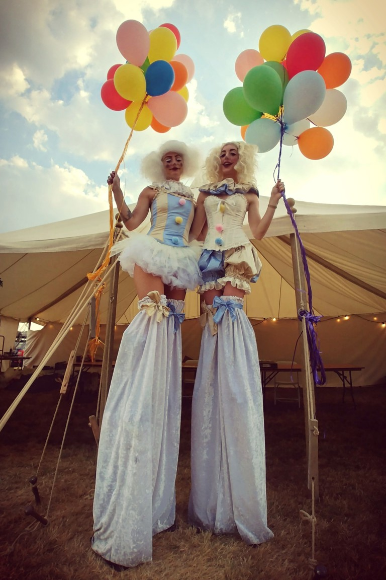 Vintage Stilt Clowns