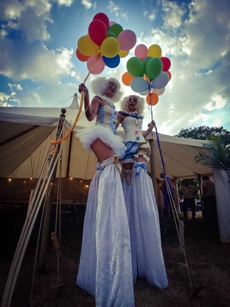Vintage stilt walking clowns for hire in the UK