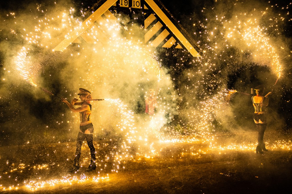 Pyrotechnic Fire Show UK. Hire fire performers. Book fire show.