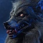 Book werewolf for Halloween. Terrying Halloween entertainment.