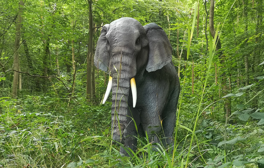 Real life effect animatronic elephant costume for hire UK. Elephant themed entertainment.