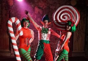 Christmas themed fire show