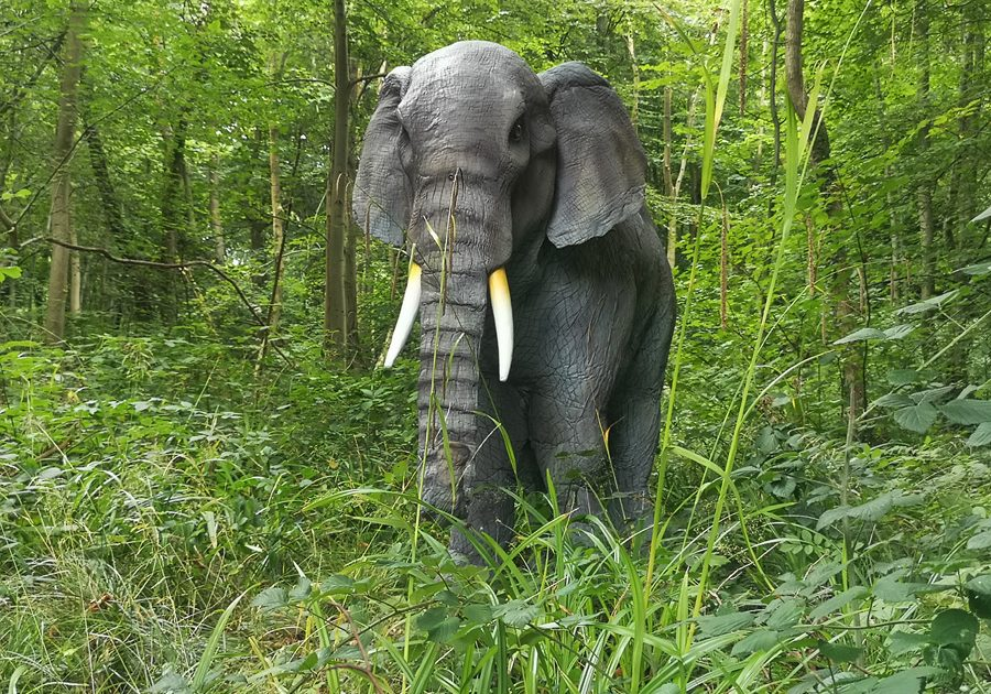 Real life effect animatronic elephant costume for hire UK. Elephant themed entertainment.