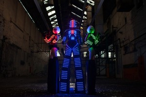 LED Glowing robots for hire UK